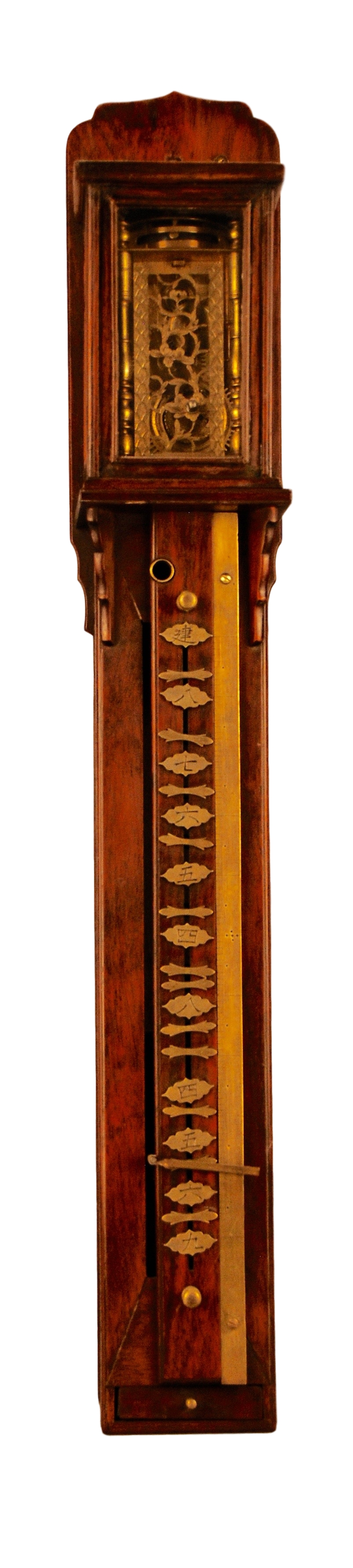 c.1850 Miniature Japanese Wood Pillar Clock with striking on a bel.