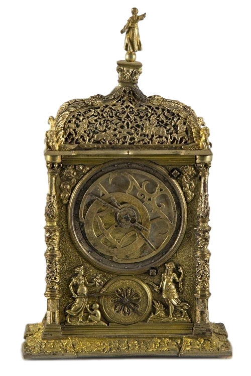 High rectangular astronomical Augsburger clock with corner posts, ca. 1850