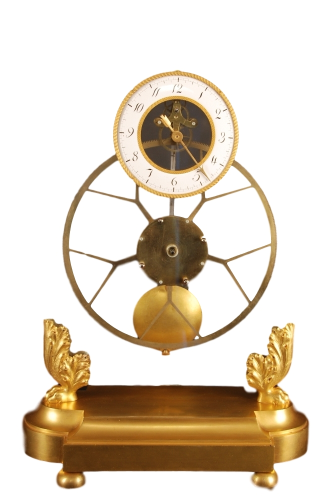 A glass plated skeleton clock with 5 Y shaped crossings, hourhand only, pinwheel escapement and knife edge suspention, France ca 1820.
