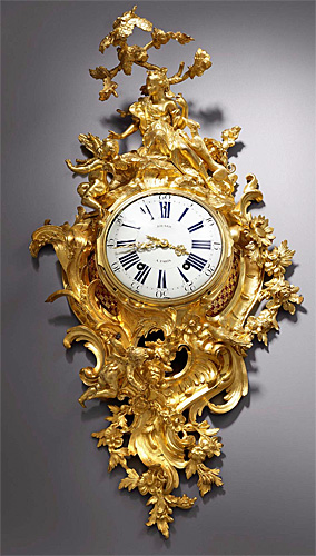 A large and highly important Louis XV gilt bronze figural cartel clock of two weeks duration, the movement by Louis Jouard and magnificent case by the eminent bronzier Jean-Joseph de Saint-Germain.