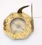 A lovely German engraved gilt brasspocket sun dial by Andreas Vogler, circa 1740